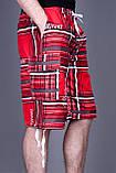 Чоловічі бриджі в клітинку (плащівка), червоного кольору, фото 2