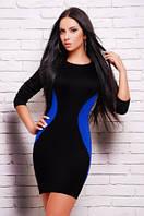 Платье черное с синим, платье нарядное облегающее по фигуре черное