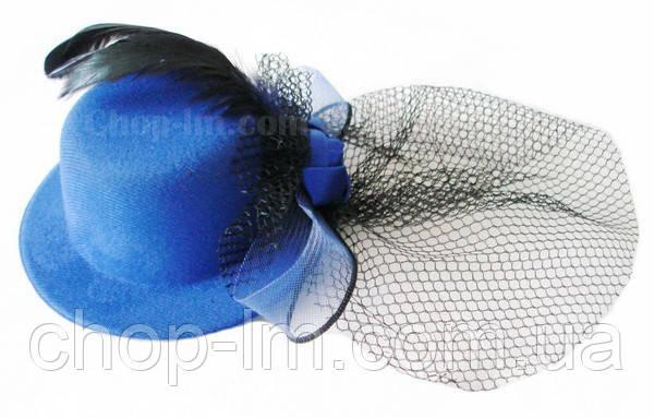 Шляпка с вуалькой синяя