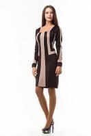 Платье женское трикотажное средней длинны, платье коричневого цвета облегающее по фигуре