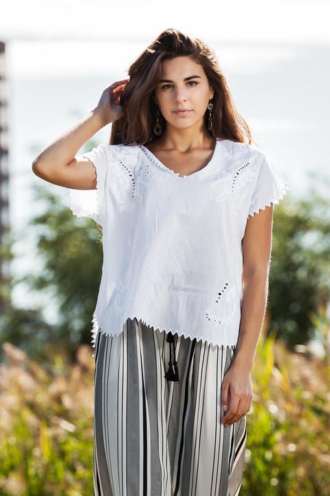 Белая коттоновая блуза свободного кроя, летняя, М,Л,ХЛ,ХХЛ