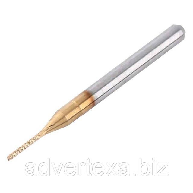 Фреза 1.0 мм 3.175мм с титановым покрытием общей длиной 36мм для гравировки на ЧПУ станках CNC