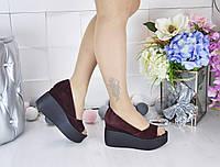 Очень стильные и красивые туфли, натуральный замш бордового цвета, платформа 10.5см, Турция