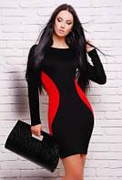 Платье черное с красным, платье нарядное облегающее по фигуре черное
