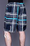 Чоловічі бриджі в клітинку (плащівка), синього кольору, фото 3