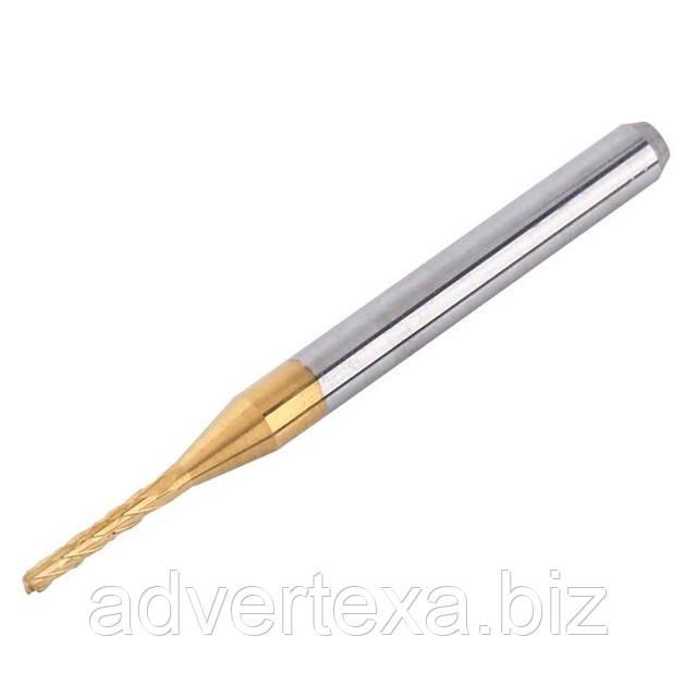 Фреза 1.3 мм 3.175мм с титановым покрытием общей длиной 36мм для гравировки на ЧПУ станках CNC