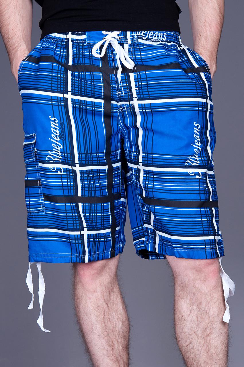 Чоловічі бриджі в клітинку (плащівка), синього кольору