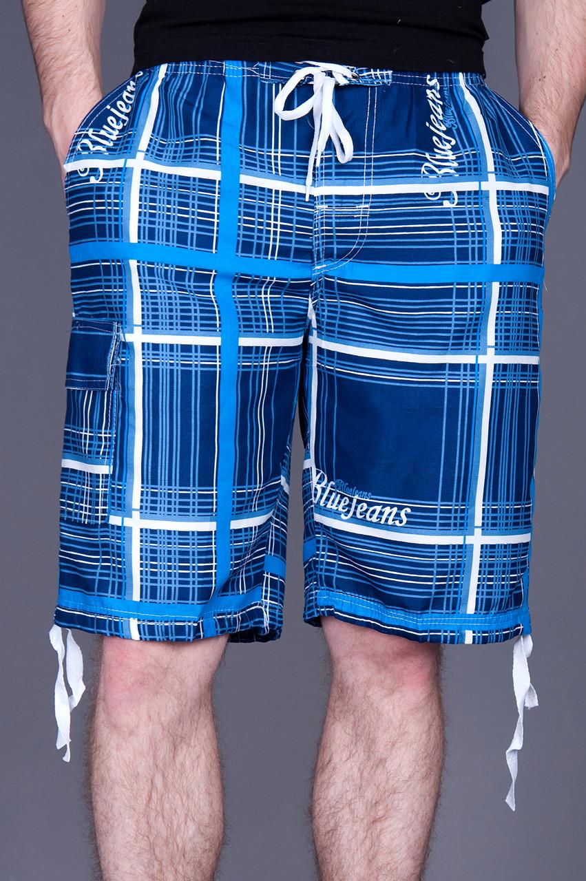 Чоловічі бриджі в клітинку (плащівка),синього кольору