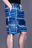 Чоловічі бриджі в клітинку (плащівка),синього кольору, фото 2