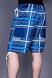 Чоловічі бриджі в клітинку (плащівка),синього кольору, фото 3