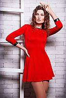 Платье красное с пышной юбкой, платье  ткань дайвинг, платье на молнии, фото 1