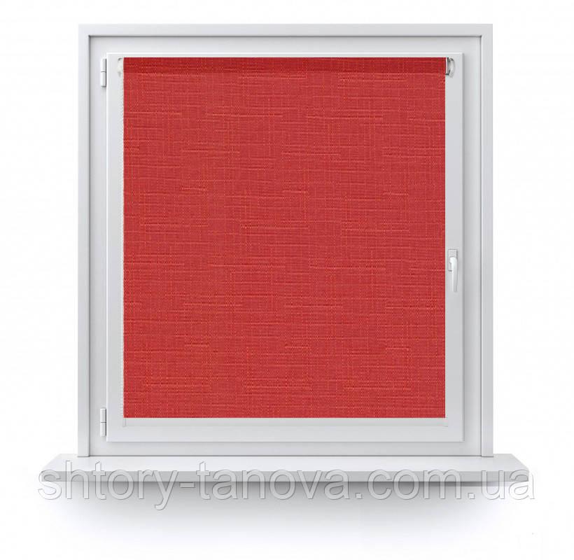 Рулонные шторы Лен 888 красный