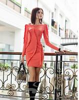 Платье облегающее коралловое нарядное красивое, платье с рюшами, фото 1