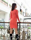 Сукня облягає коралове красиве нарядне, плаття з рюшами, фото 3