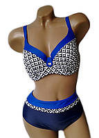 Купальник женский раздельный большие размеры 54-62 Kristina цвет синий темный с принтом электрик
