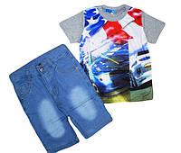 Комплекты для мальчиков (джинсовые  шорты + футболка) из Венгрии 4,6,8,10,12 лет., фото 1
