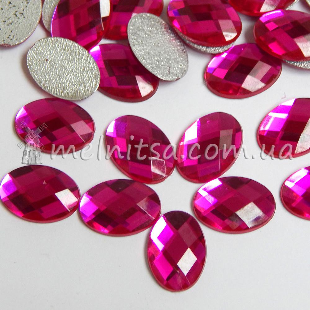 Камінь клейовий Овал з термоклейвий шаром 14х10 мм, малиновий (10 шт)