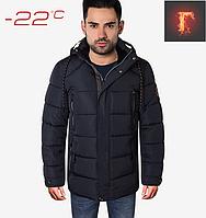 Мужская зимняя куртка с мехом в капюшоне - 9075 синий