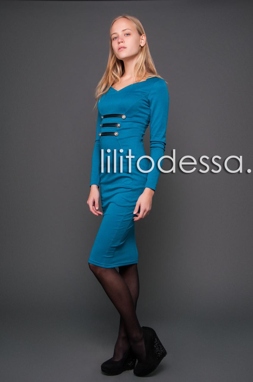 Платье с кожаными вставками мор.волна