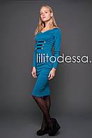 Платье с кожаными вставками мор.волна, фото 1