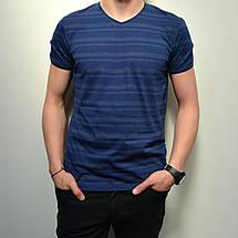 Мужская футболка, размеры: 46-56, 100% хлопок, в классическом стиле с V-образным вырезом - синего цвета, фото 3