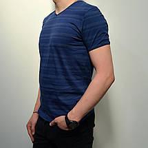 Мужская футболка, размеры: 46-56, 100% хлопок, в классическом стиле с V-образным вырезом - синего цвета, фото 2