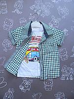 Детская летняя рубашка + футболка на 1-2 года 1р