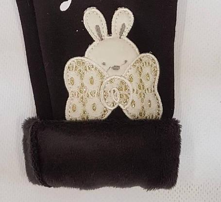 Детские лосины на меху зайка+бантик р.98-128 чёрный, фото 2