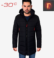 Длинная мужская зимняя куртка - 1703 темно синий, фото 1