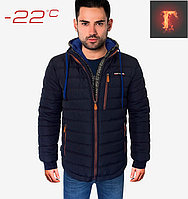 Зимняя мужская куртка - 1706 темно синий электрик , фото 1