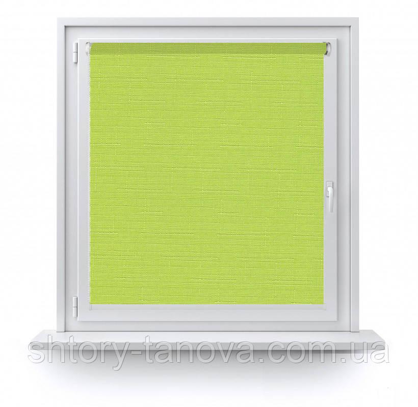 Рулонні штори тканина Льон 873 салатовий