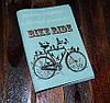 Кожаная обложка для паспорта -Птицы на велосипеде-