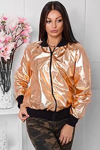 Женская куртка из блестящей экокожи (Фейт mrb)