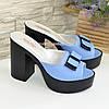 Сабо кожаные женские на устойчивом каблуке, цвет голубой, фото 4