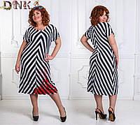 d3b6a68a474 Женское красивое платье батальное с узором полоска.Размер- 48-52 уни.Ткань