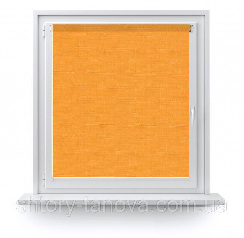 Рулонные шторы Лен 0852 оранжевый