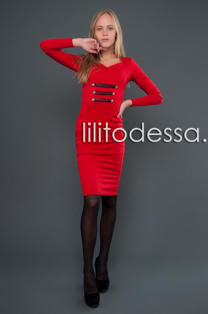 Платье с кожаными вставками красный