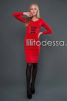 Платье с кожаными вставками красный, фото 1