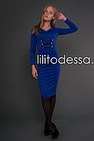 Платье с кожаными вставками синий, фото 1