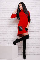 Платье красное с кожаными вставками, свободного покроя со шлейфом нарядное, платье туника