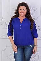 Синяя женская летняя шифоновая блузка больших размеров, рукав 3/4.  Арт-4150/32, фото 1