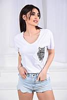 Женская футболка, коттон 100%, р-р 42-44; 44-46; 46-48 (белый)