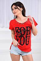 Женская футболка, коттон 100%, р-р 42-44; 44-46; 46-48 (красный)