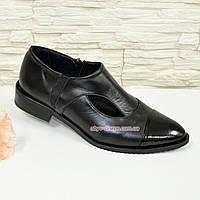 Женские туфли с острым носком на низком ходу, натуральная кожа и лаковая кожа. 39 размер