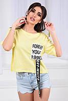 Женская футболка, коттон 100%, р-р 42-44; 44-46; 46-48 (жёлтый)