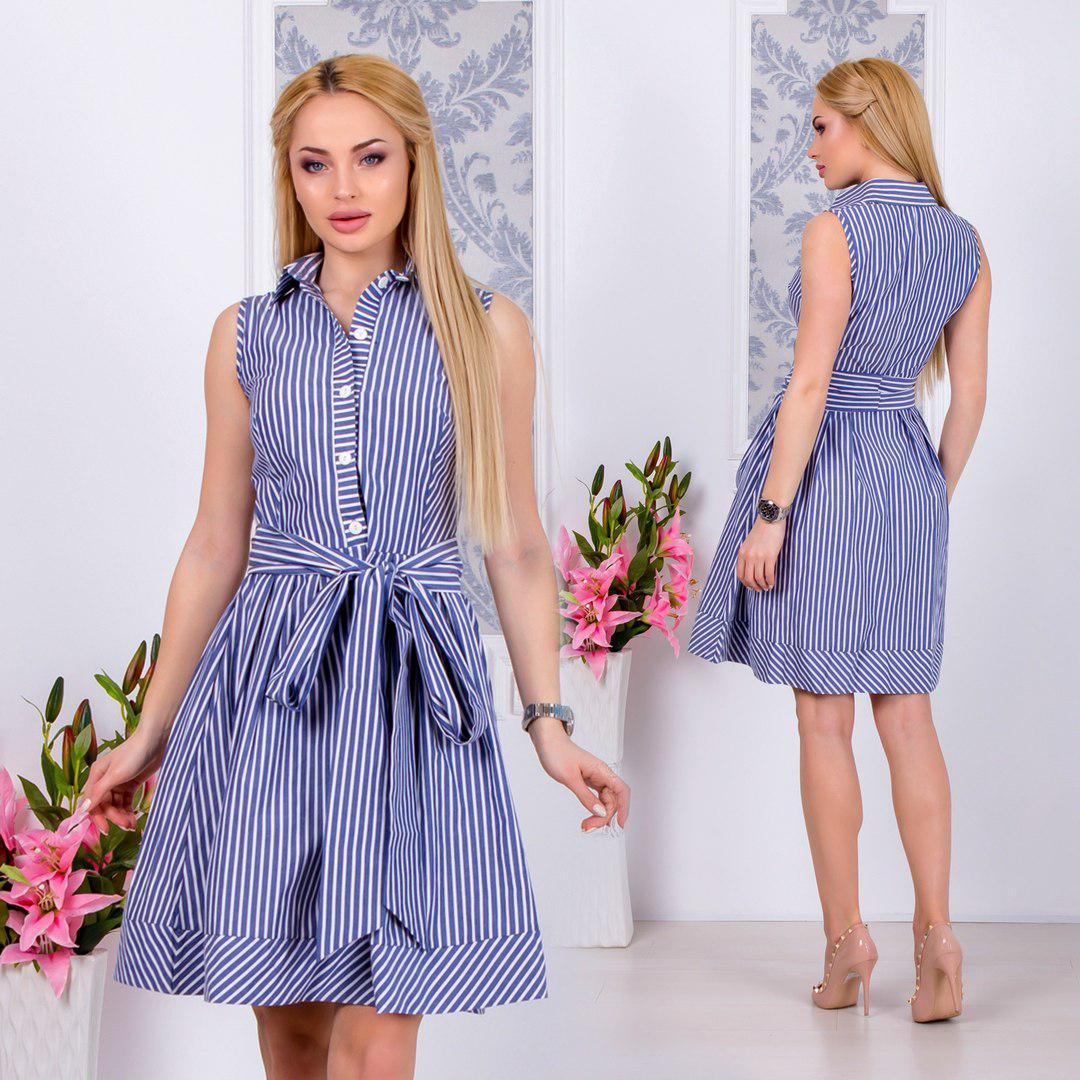 Женское платье полоска с карманами и поясом  Размеры-42,44,46,48,50,52 Ткань-коттон Цвет-голубая полоска,серая