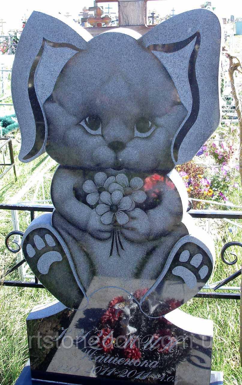 Памятник детский из гранита Зайчик