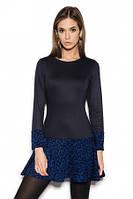Платье черное трикотажное с заниженной талией и пышной юбкой, красивое, повседневное,строгое , фото 1