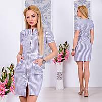 Женское платье на пуговицах. Размеры-42,44,46,48 Ткань-коттон Цвет-серая полоска,белая полоска,голубая полоска