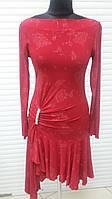 Платье женское воротник лодочка, облегающее по фигуре, низ хвостами, платье красное., фото 1
